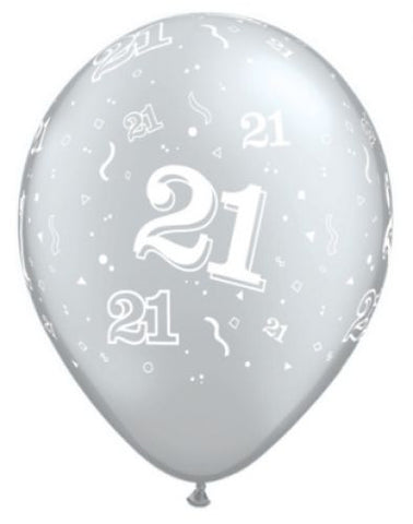 21st Birthday Balloons Silver