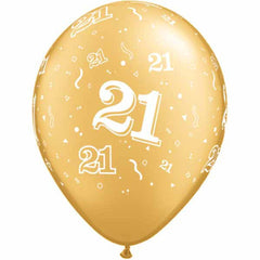 21st Birthday Balloons Gold