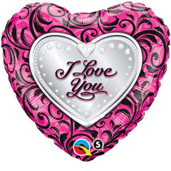 Pink & Black I Love You Foil Balloon