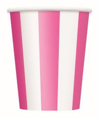 Hot Pink Stripe Cups