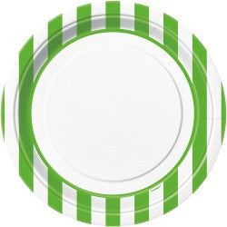 Lime Green Stripe Large Plates