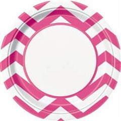 Hot Pink Chevron Large Plates