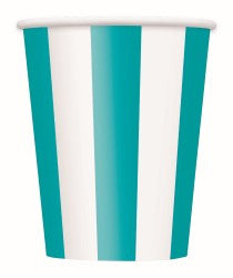 Teal Stripe Cups