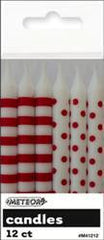 Red Dot & Stripe Candles