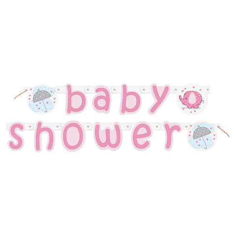 Baby Shower Banner Pink Elephant