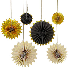 Meri Meri Black & Gold Pinwheel Decorations