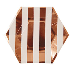 Toot Sweet Rose Gold Stripe Plates