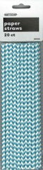 Teal Chevron Paper Straws