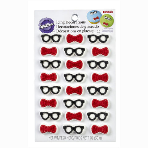 Wilton Glasses & Bow Ties Icing Decorations