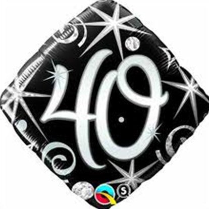 Black & Silver 40th Foil Balloon