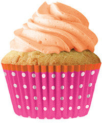 Pink Dots - Orange Trim Cupcake Wrappers