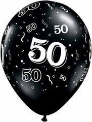 50th Balloons Black