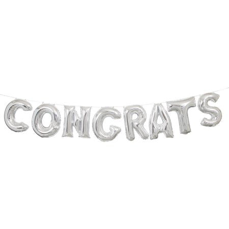 CONGRATS Silver Foil Balloon Kit