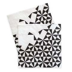 Dinner Napkins Black Geo