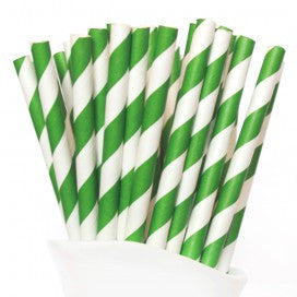 Dark Green Stripe Paper Straws