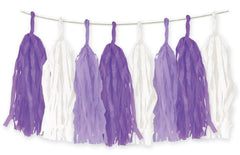 Purple & White Party Tassel Garland