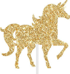 Gold Unicorn Glitter Cake Topper