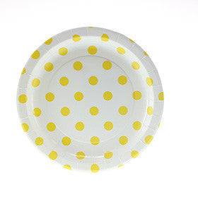 White w Yellow Polka Dot Cake Plates