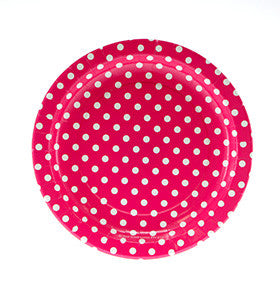 Hot Pink Polka Dot Plates