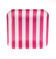 Candy Stripe Hot Pink Square Plates
