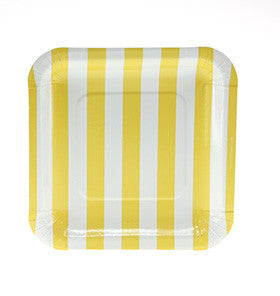 Candy Stripe Yellow Square Plates