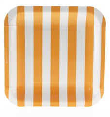 Candy Stripe Orange Square Plates