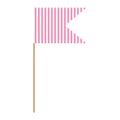 Candy Pink Stripe Paper Flag Picks