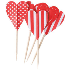 Candy Cane Heart Food Picks