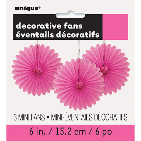 Hot Pink Mini Decorative Fans
