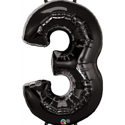 Black 3 Foil Balloon