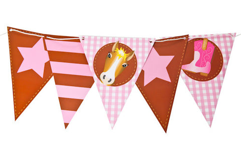 Cowgirl & Pony Bunting Flags
