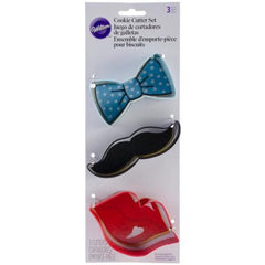 Wilton Lips, Moustache & Bow-tie Cookie Cutter Set