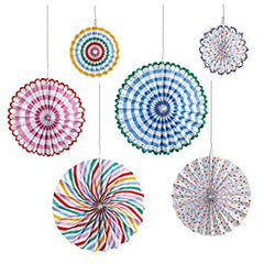 Toot Sweet Multi Coloured Pinwheel Decorations