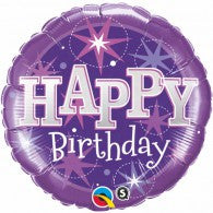 Purple Star Happy Birthday Foil Balloon