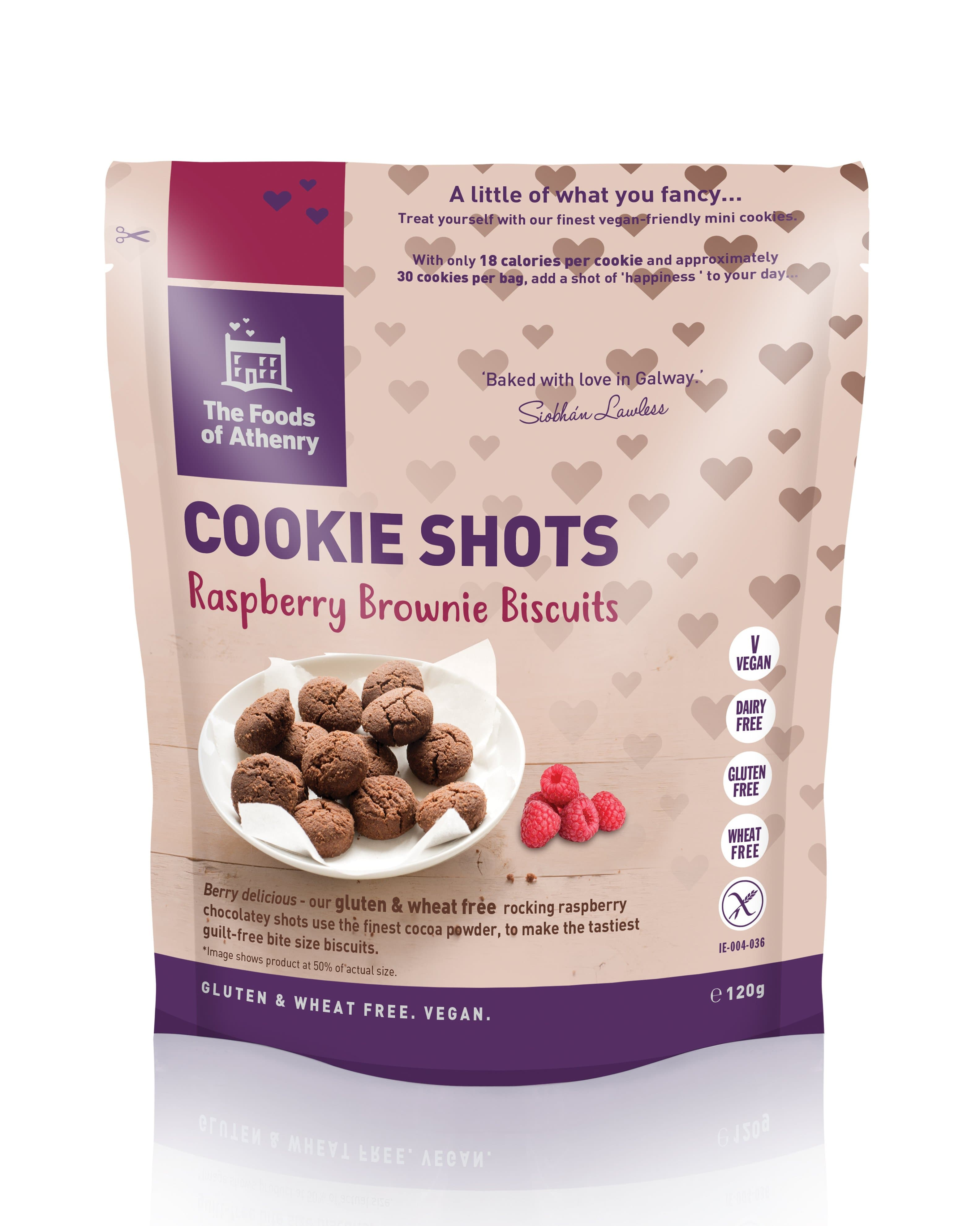The Foods of Athenry Cookie Shots Raspberry Brownie Biscuits 120g - SoulBia