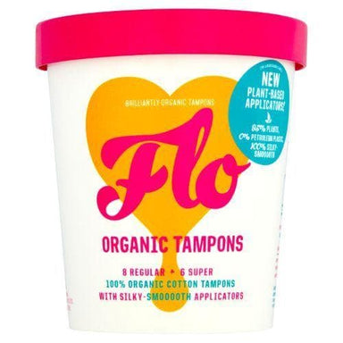 FLO Eco-Applicator Regular+Super Organic Tampons 14s - SoulBia