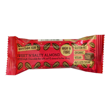 Rhythm 108 Swiss Chocolate Bar - Sweet 'N' Salty Almond 33g - SoulBia