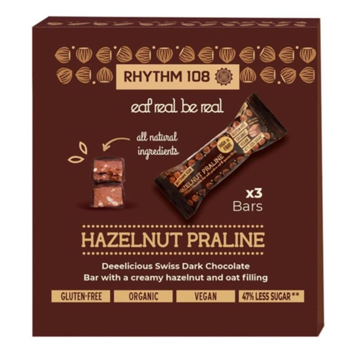 Rhythm 108 Swiss Chocolate Bar - Hazelnut Praline Multipack (33gx3) - SoulBia