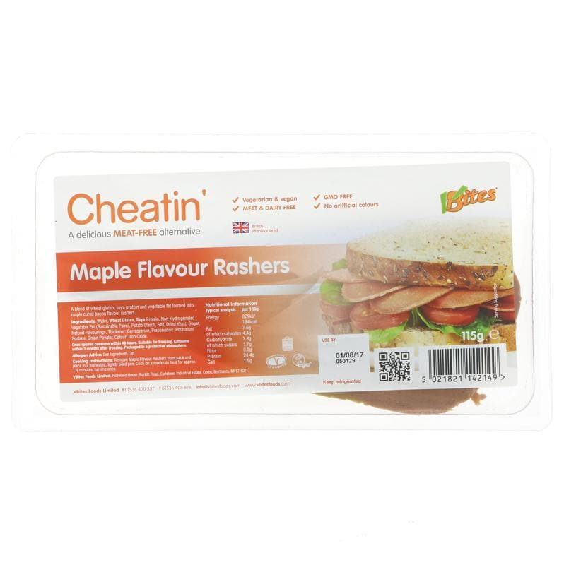 Vbites Cheatin' Maple Rashers - 115g - SoulBia