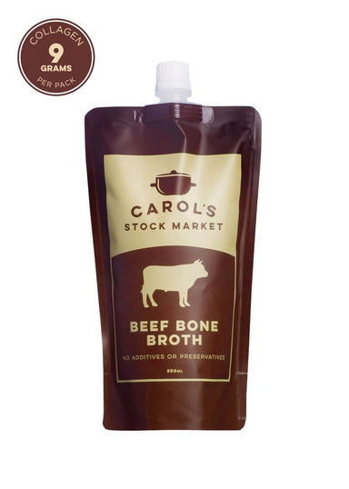 Carol's Stock Market Natural Beef Bone Broth 500ml - SoulBia