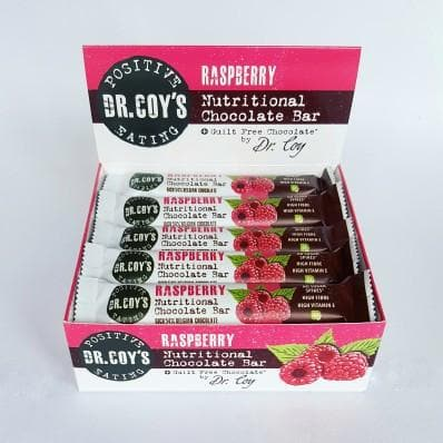 Dr Coy's Nutritional Chocolate Bars Raspberry Chocolate (Box of 20) - SoulBia