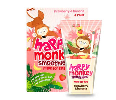 Happy Monkey - Strawberry & Banana Smoothies (4 x 180ml) - SoulBia