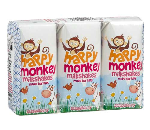 HAPPY MONKEY - STRAWBERRY MILKSHAKES (3 X 200ML) - SoulBia