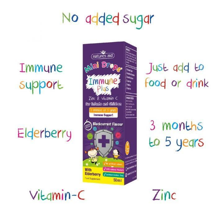 Natures Aid Immune Plus Mini Drops for Infants and Children, Sugar Free, 50 ml - SoulBia
