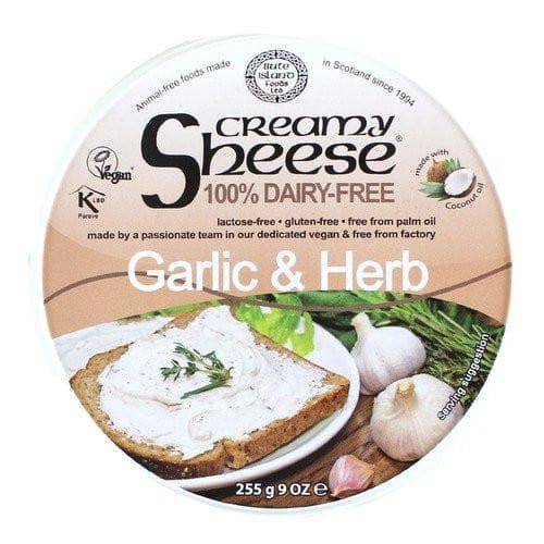 Bute Island Foods Creamy Sheese  100% Dairy Free Garlic& Herb Spread - 255g - SoulBia