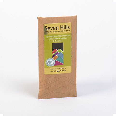 38% Costa Rican Milk Chocolate with Pistachio & Cinnamon