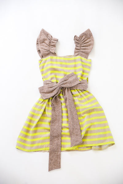 Yellow and Beige Striped Dress