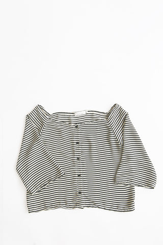 Bare Shoulders Striped Blouse