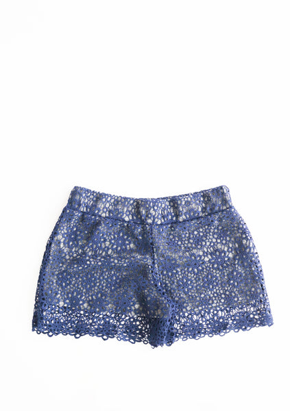 Navy Blue Lace Shorts