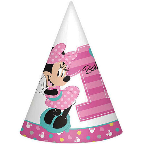 Minnie Mouse Party Supplies Cone Hats 8ct